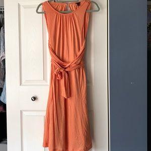 Ann Taylor peach dress, midi, stretch cotton, 6